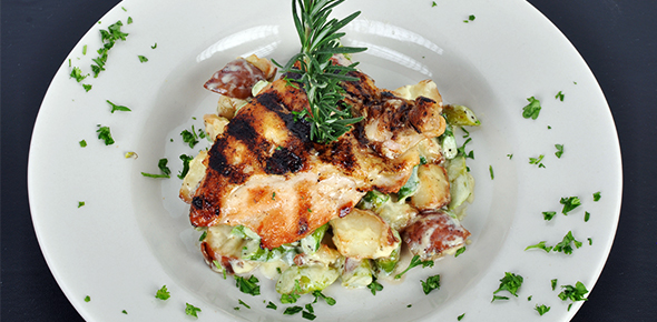 Chicken breast with heart of palm sauce
