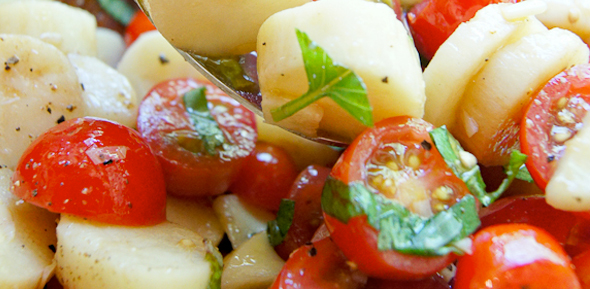 Hearts of Palm and cherry tomato salad